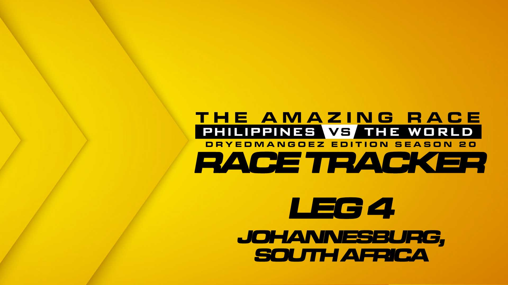 The Amazing Race Philippines vs The World (DryedMangoez Edition Season 20) Race Tracker – Leg 4