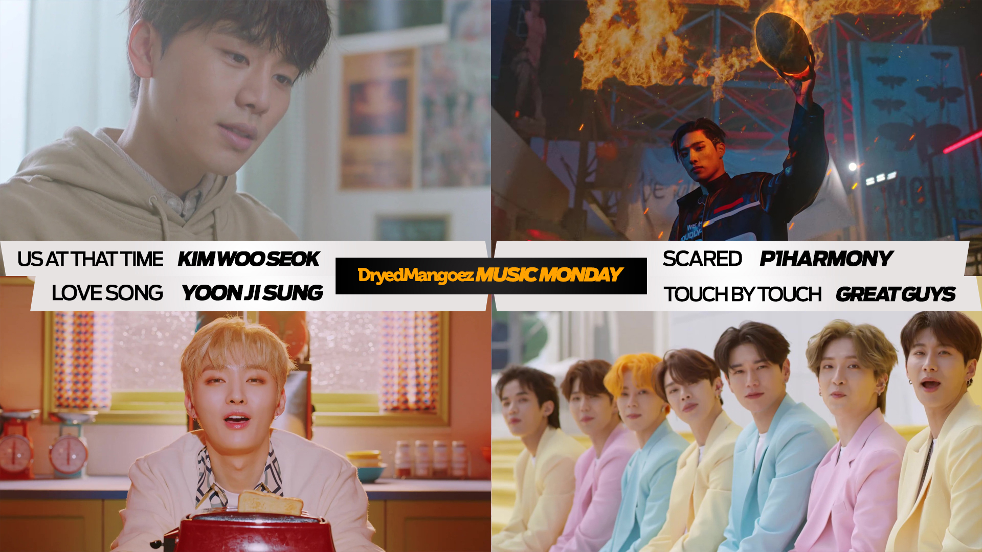 Music Monday, April 26, 2021 – A Diverse Quartet of Great Songs from actor Kim Woo Seok, P1Harmony, Yoon Jisung, GreatGuys